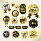 Golden labels collection set Royalty Free Stock Images
