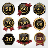 Golden labels collection set Stock Images