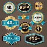 Golden labels collection set Stock Photos
