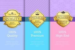 Golden Labels with Crown 100 Quality Premium Set. Golden labels with crown 100 quality premium exclusive high end product set of emblems on posters with text vector illustration