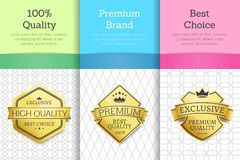 Golden Labels with Crown 100 Quality Premium Set. Golden labels with crown 100 quality premium exclusive high end product set of emblems on posters with text royalty free illustration