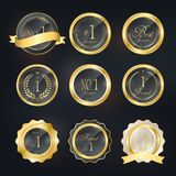 Golden labels. Gorgeous quality golden labels design Royalty Free Stock Image