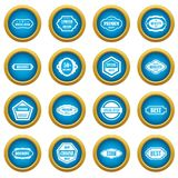Golden labels icons blue circle set. Isolated on white for digital marketing Royalty Free Stock Images