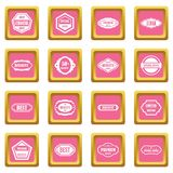 Golden labels icons pink. Golden labels icons set in pink color isolated vector illustration for web and any design Stock Image