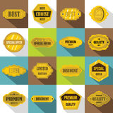 Golden labels icons set, flat style Royalty Free Stock Images