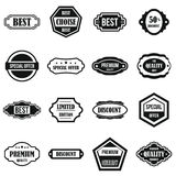 Golden labels icons set, simple style. Golden labels icons set. Simple illustration of 16 golden labels vector icons for web Royalty Free Stock Photo