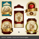 Golden labels II. Set of food and beverages themed gold-framed labels with elegant engravings Royalty Free Stock Photo