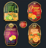 Golden labels for organic fruit product collection. Golden labels for organic fruit product Royalty Free Stock Image
