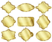 Golden labels or plates Royalty Free Stock Photo