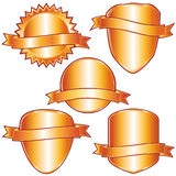 Golden labels and shields. Royalty Free Stock Image