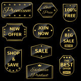 Golden labels Royalty Free Stock Photos