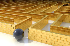 Golden labyrinth Royalty Free Stock Photography