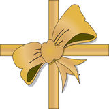 Golden lace bow Stock Photo