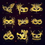 Golden Lace Masquerade Party Masks Set. In cartoon style on dark background isolated vector illustration Royalty Free Stock Image