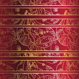 Golden lace ornament on deep red background. Seamless pattern  Stock Photos