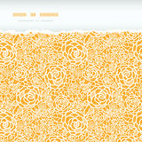 Golden lace roses torn horizontal seamless pattern Royalty Free Stock Image