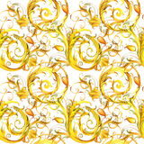 Golden lace seamless pattern. vintage curl watercolor background. Royalty Free Stock Image