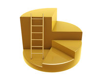 Golden ladder on pie graph steps Royalty Free Stock Photography