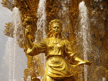 Golden Lady. Golden statue in moscow fountain of Friendship of Peoples Stock Images