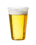 Golden lager or beer in disposable plastic cup. Golden beer, ale or lager in a plastic disposable cup or glass for party concert or by pool for safety stock photography