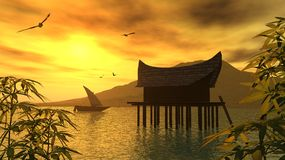 Golden lagoon. Amazing sunset  on a asian landscape Royalty Free Stock Images