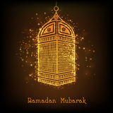 Golden lamp for Muslims holy month Ramadan Kareem celebration. Stock Photography