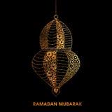 Golden Lamp for Ramadan Mubarak. Golden floral design decorated, Beautiful Lamp on black background for Holy Month of Muslim Community, Ramadan Mubarak Stock Image