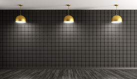 Golden lamps against of wall interior background 3d rendering Stock Images