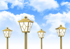 The golden lamps Stock Images