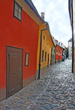 Golden Lane in Prague Castle. The Golden Lane in Prague Castle is dated from the 16th century. This is a picturesque street with colorful artisans' cottages stock photo