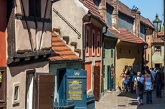 Golden lane in prague castle. Homes along the golden lane in prague castle, where franz Kafka once lived here. Now famous an popular tourist destination stock photo