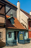 Golden lane in prague castle. Homes along the golden lane in prague castle, where franz Kafka once lived here. Now famous an popular tourist destination stock images
