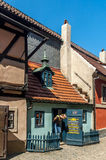 Golden lane in prague castle. Homes along the golden lane in prague castle, where franz Kafka once lived here. Now famous an popular tourist destination royalty free stock photography
