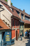 Golden lane in prague castle. Homes along the golden lane in prague castle, where franz Kafka once lived here. Now famous an popular tourist destination royalty free stock image
