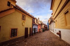 The Golden Lane on the Prague Castle in summer in Prague, Czech Republic. The Golden Lane Zlatá ulička on the grounds of the Prague Castle in summer royalty free stock images