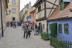 Golden Lane Prague Castle. Tourists in the Golden Lane in Prague Castle. Franz Kafka once lived here - although it has been suggested that the home really royalty free stock photos