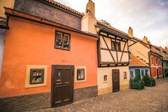 The Golden Lane on the Prague Castle in summer in Prague, Czech Republic. The Golden Lane Zlatá ulička on the grounds of the Prague Castle in summer royalty free stock photo