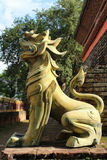 Golden lanna lion  statue. Royalty Free Stock Photography