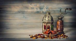 Golden lantern antique mill. Arabic decoration vintage Royalty Free Stock Image
