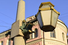 Golden Lantern. In the light of the evening sun on the streets of St. Petersburg Royalty Free Stock Photography