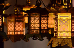 Golden Lanterns at Buddhist Temple Stock Images