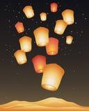 Golden lanterns Stock Photography