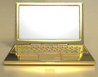 Golden Laptop Stock Photography