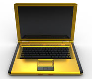 Golden laptop. 3в model of golden laptop vector illustration