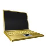 Golden laptop. 3d rendering of golden laptop on white background Stock Photos