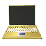 Golden laptop. 3d rendering of golden laptop on white background Royalty Free Stock Image