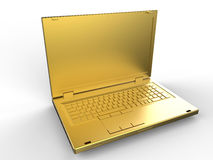 Golden laptop. 3D render illustration of a golden laptop. The composition is isolated on a white background with shadows Stock Photos