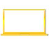 Golden laptop Stock Photo
