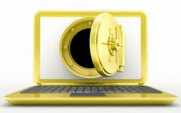 Golden laptop and vault door Stock Photos