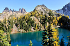 Golden Larch trees and Blue Lake Trail Stock Images